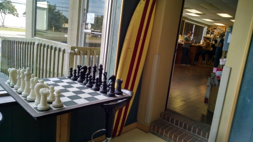 Chess, anyone? Through the door to the right is the home brew shop